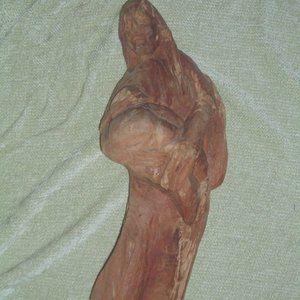 Vintage Madonna hand carved wood statue art decor